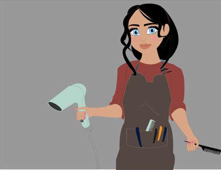 Beautiful girl hairdresser holding a hairdryer. Cute woman hairdresser. Female hairdresser cartoon character. Ilustración de vector