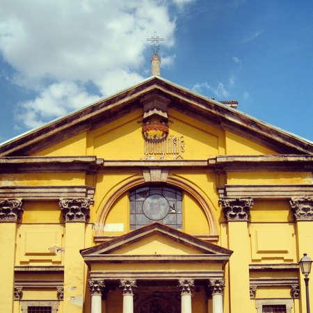 the sacral: Yellow church Stock Photo