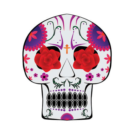 Candy skull with roses in eyes and pinkpurple themed flowers Vector