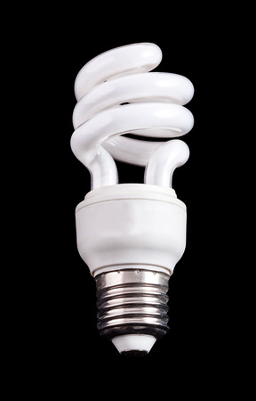 Energy saving compact fluorescent lamp on balck background  photo