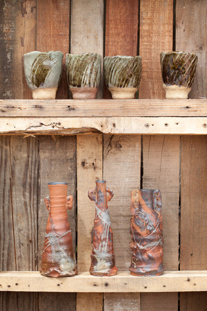 decorative clay vases in garden photo