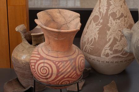 Oude aardewerk van Ban Chiang, Keuken menselijk oudheid Stockfoto