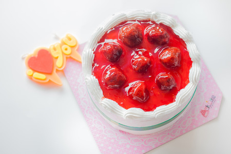 Homemade strawberry cake photo