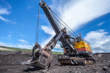 Mining industry machine - vintage excavator photo