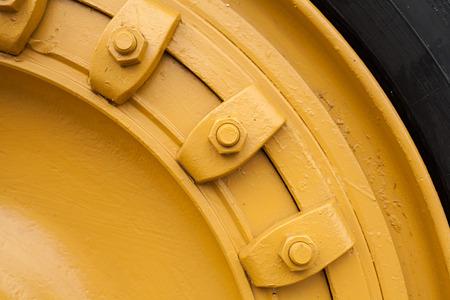 huge wheel of loader machine photo