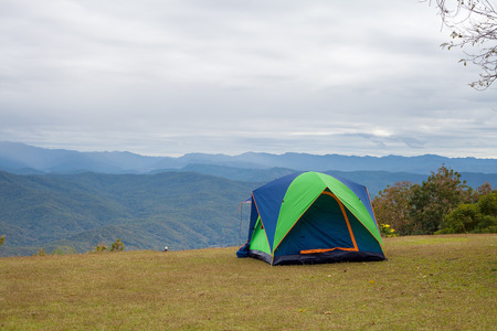 Tent and pavilion camping in campground at national park Stock Photo