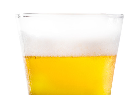 pint: Frosty pint glass of beer isolated on a white background