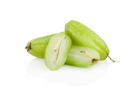 bilimbi: Bilimbi (Averhoa bilimbi Linn.) or cucumber fruit slice on white background Stock Photo