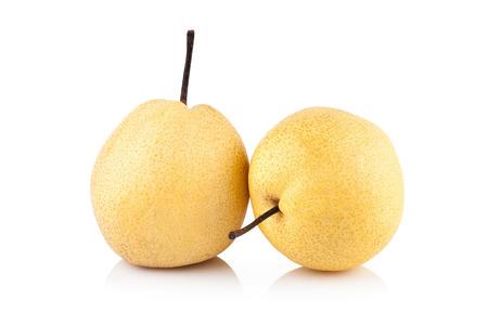 pyrus: Nashi pear fruit over white background