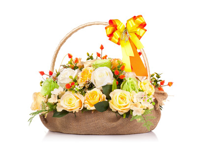 flowers bouquet: Plastic flower for decoration Stock Photo