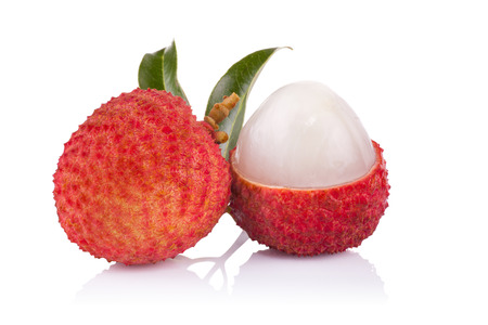 Fresh lychees isolated on white Foto de archivo