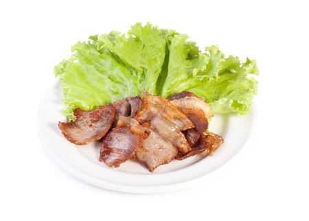 deep fried: deep fried pork belly on white background Stock Photo