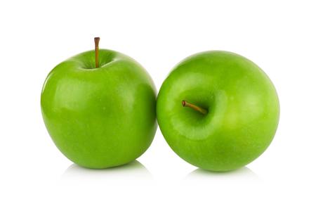 manzanas: manzanas verdes aisladas sobre fondo blanco  Foto de archivo