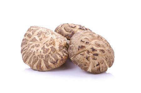 chinese herbs: Shiitake mushrooms on the White background