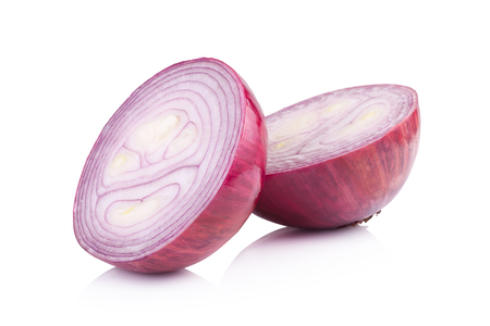 onion: Red sliced onion isolated on white background