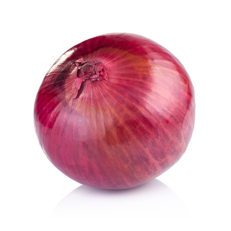 onion peel: Red sliced onion isolated on white background