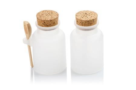 closure: White plastic bottle closure with a cork Stock Photo