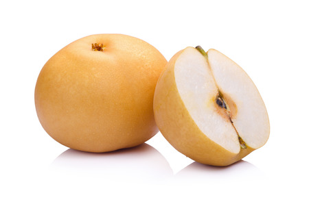 asian pear: pear fruit over white background Stock Photo