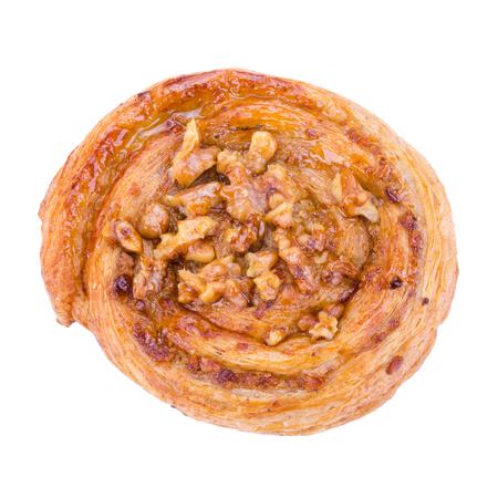 danish puff pastry: maple walnut danish on white background