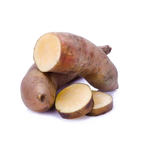 Fresh Yacon roots on white background