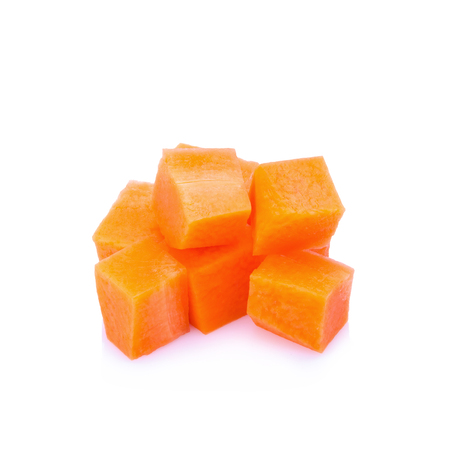 diced: Diced carrots on white background Stock Photo