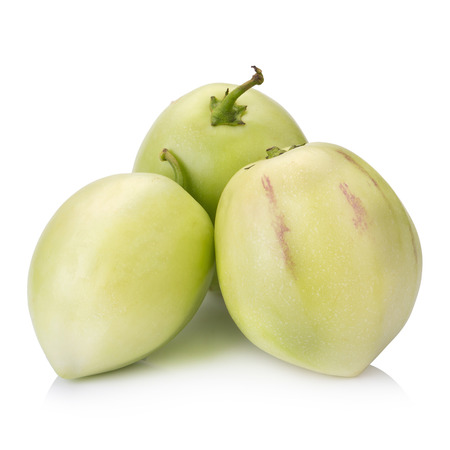 tropical shrub: pepino melon on white background.