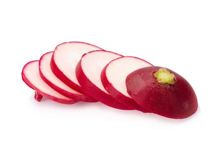 radishes: Fresh radishes on white background. Stock Photo