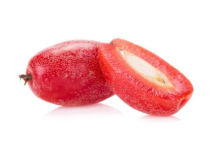 purgative: Ripe Elaeagnus latifolia fruits isolated on white background. Stock Photo