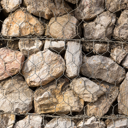 construction mesh: Stone construction with steel mesh which was dam embankment erosion.