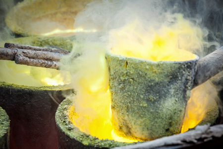 ferrous foundry: Foundry - molten metal poured from ladle.