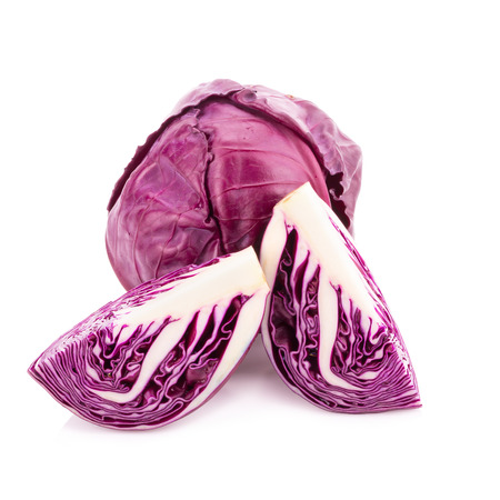 red cabbage isolated on white. 스톡 콘텐츠