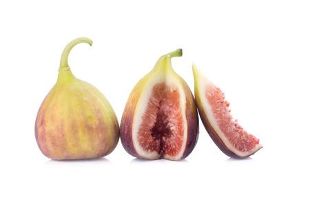 sweet segments: fresh figs on a white background.