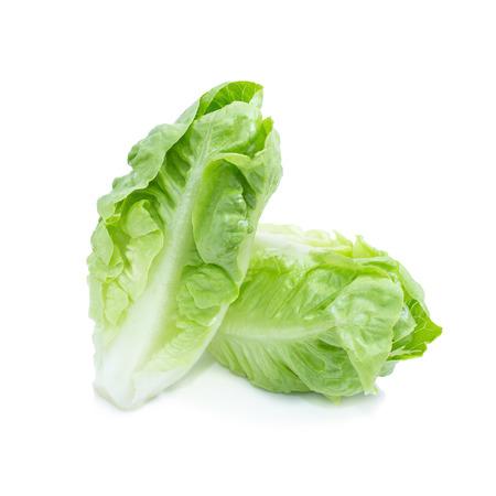 Cos Lettuce Isolated on White Background. Stock Photo