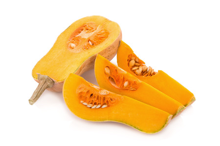Butternut squash isolated on white background.