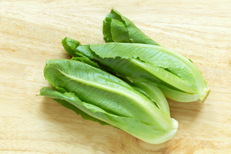 cos: Cos Lettuce on wood background. Stock Photo
