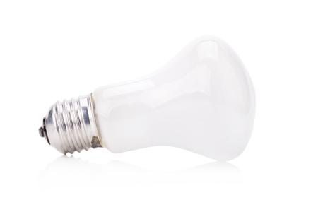 matt: Incandescent matt white light isolated on white background. Stock Photo