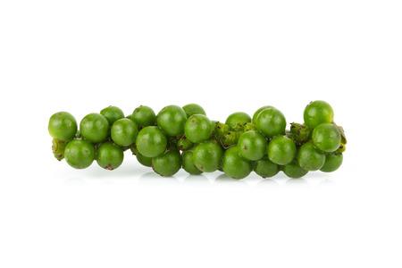 Black pepper, Green color black pepper on white background