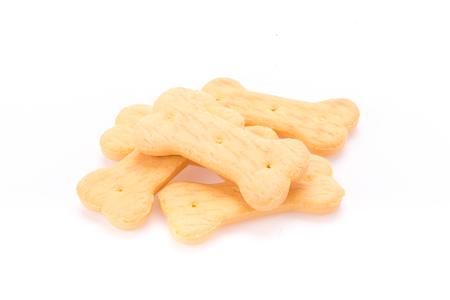 dog biscuit: Dog food biscuit shaped like bones.