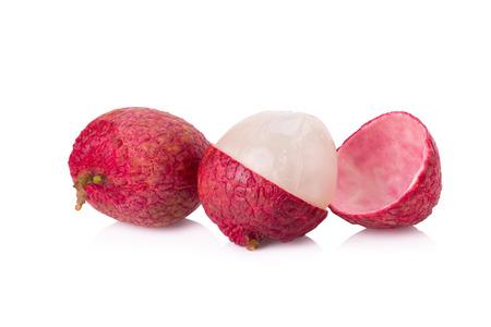 litschi: Fresh lychees isolated on white.