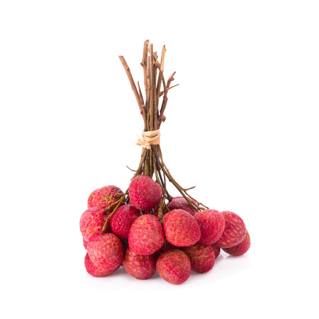 lychees: Fresh lychees isolated on white.