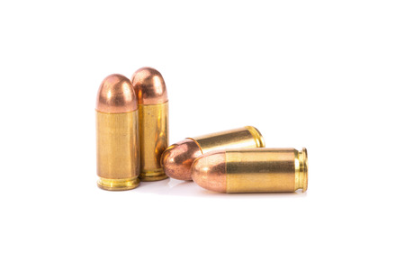 9mm ammo: 9mm bullet for a gun isolated on white background.