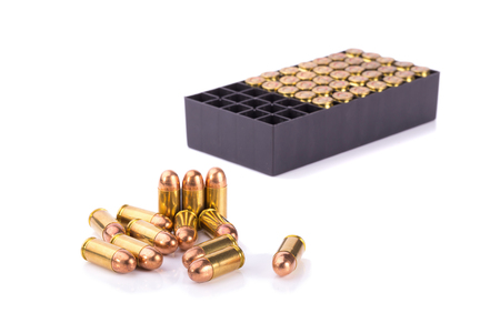 luger: 9mm bullet for a gun isolated on white background.