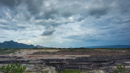 lignite: Open pit lignite mine at mae-moh Lampang Thailand. Stock Photo
