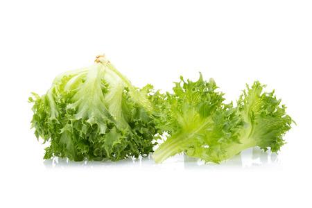 green frillies iceberg lettuce isolated on white background.