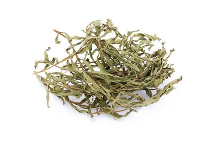 dried herbs: taragon dried herbs on white.