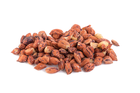 arachis: Roasted tiger peanuts on white background.