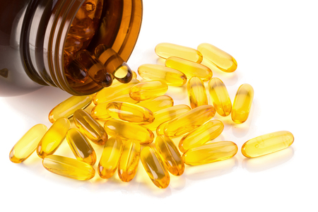 Omega 3 capsules from Fish Oil on white background. Stock Photo