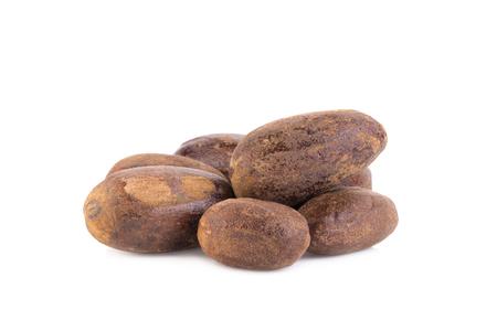 asian flavors: Nutmeg isolated on white background. Stock Photo