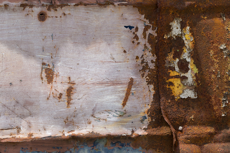 oxidized: peeling paint and rusty old metal texture.