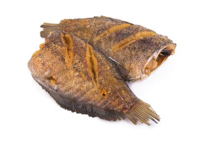 pectoralis: Trichogaster pectoralis, fried salid fish thai food on white background.